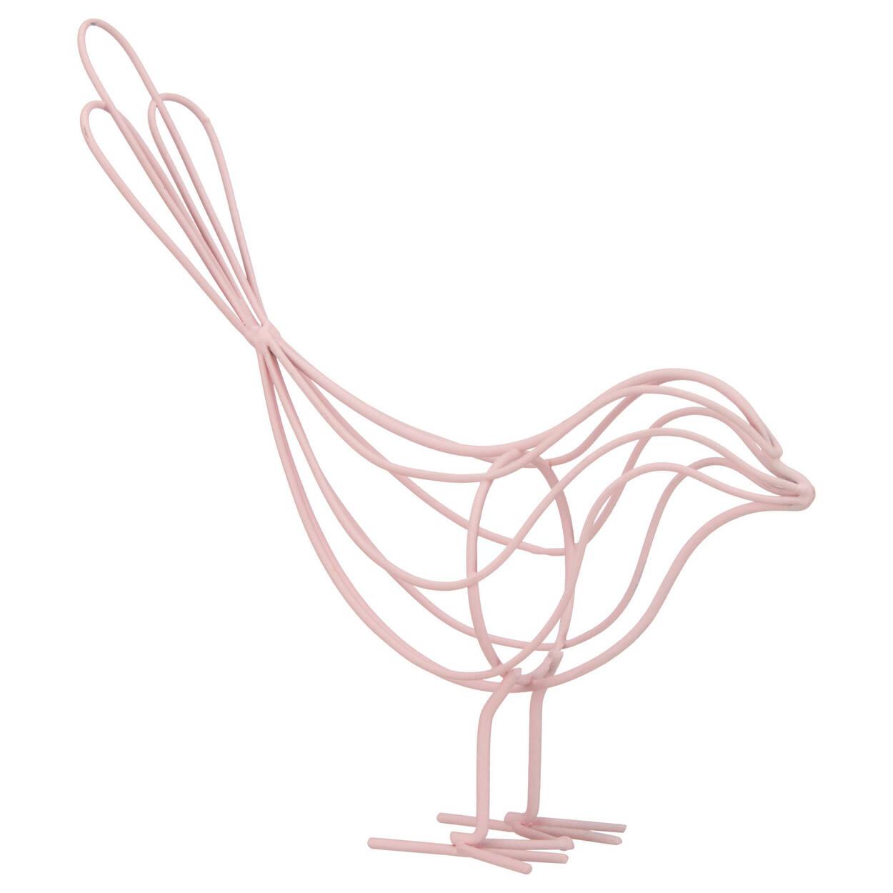 Oiseau décoratif en tige de métal rose