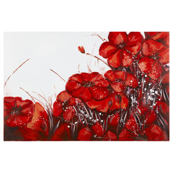 Red Floral Field Oil Painted Canvas