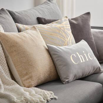 "Leaf Decorative Pillow with Foil Embellishments 19"" X 19"""
