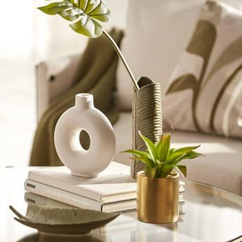 White Dolomite Donut Vase