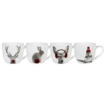 Set of 4 Winter Animals Mugs