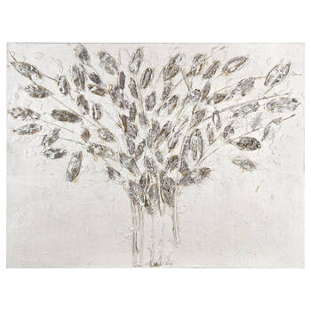 Silver Leaves Oil-Painted Canvas