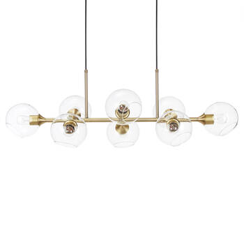 Round Glass and Metal Ceiling Lamp