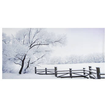 Fence in the Snow Printed Canvas