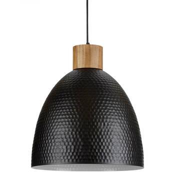 Lampe suspendue en métal et en bois