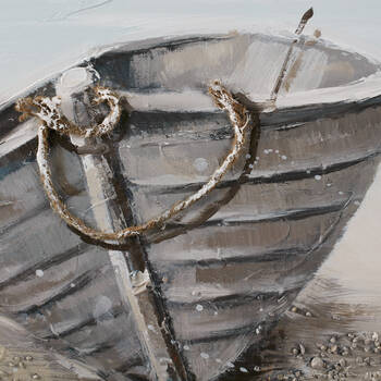 Stranded Boats Oil Painted Canvas