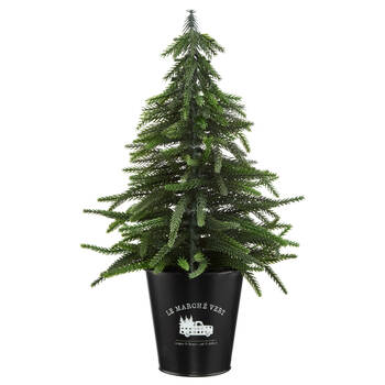 Decorative Tree in Galvanized Metal Pot