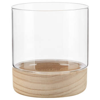 Natural Wood and Glass Candle Holder
