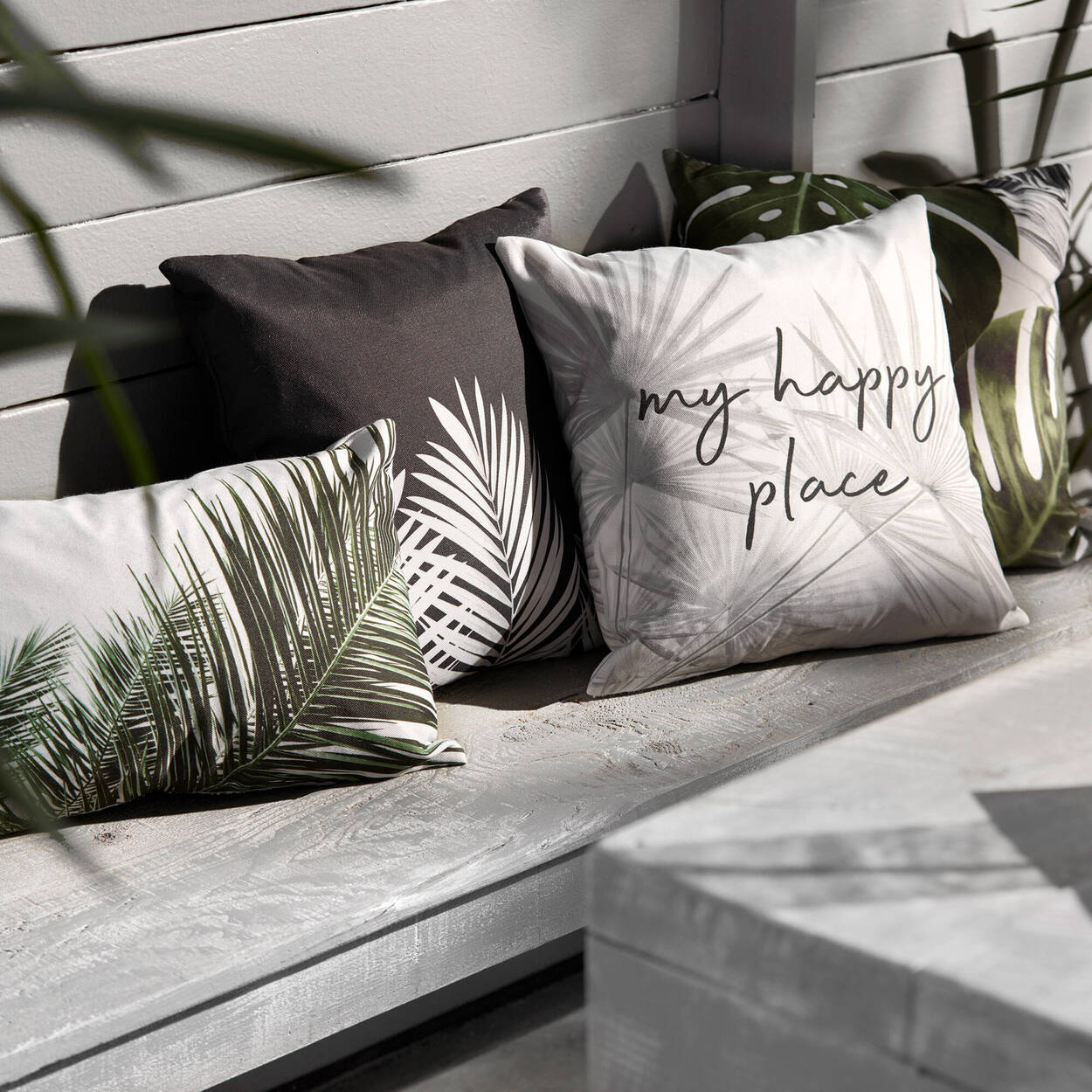 """Tropical Leaves and Typography Decorative Pillow 18"""" x 18"""""""