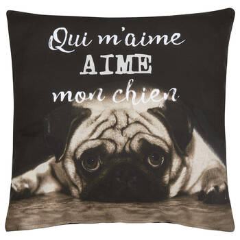 "Aime Mon Chien Decorative Pillow Cover 18"" X 18"""