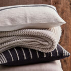 """Hiso Embroidered Striped Decorative Pillow 18"""" X 18"""""""