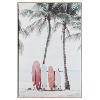 Pink Surfboard on Beach Printed Framed Art