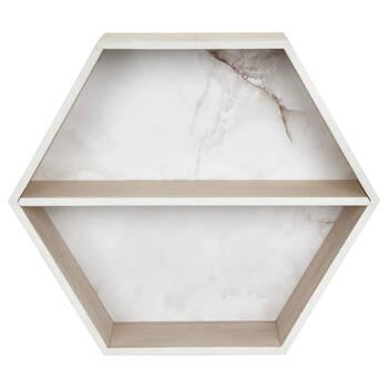 Hexagonal Marble-Effect Wall Shelf
