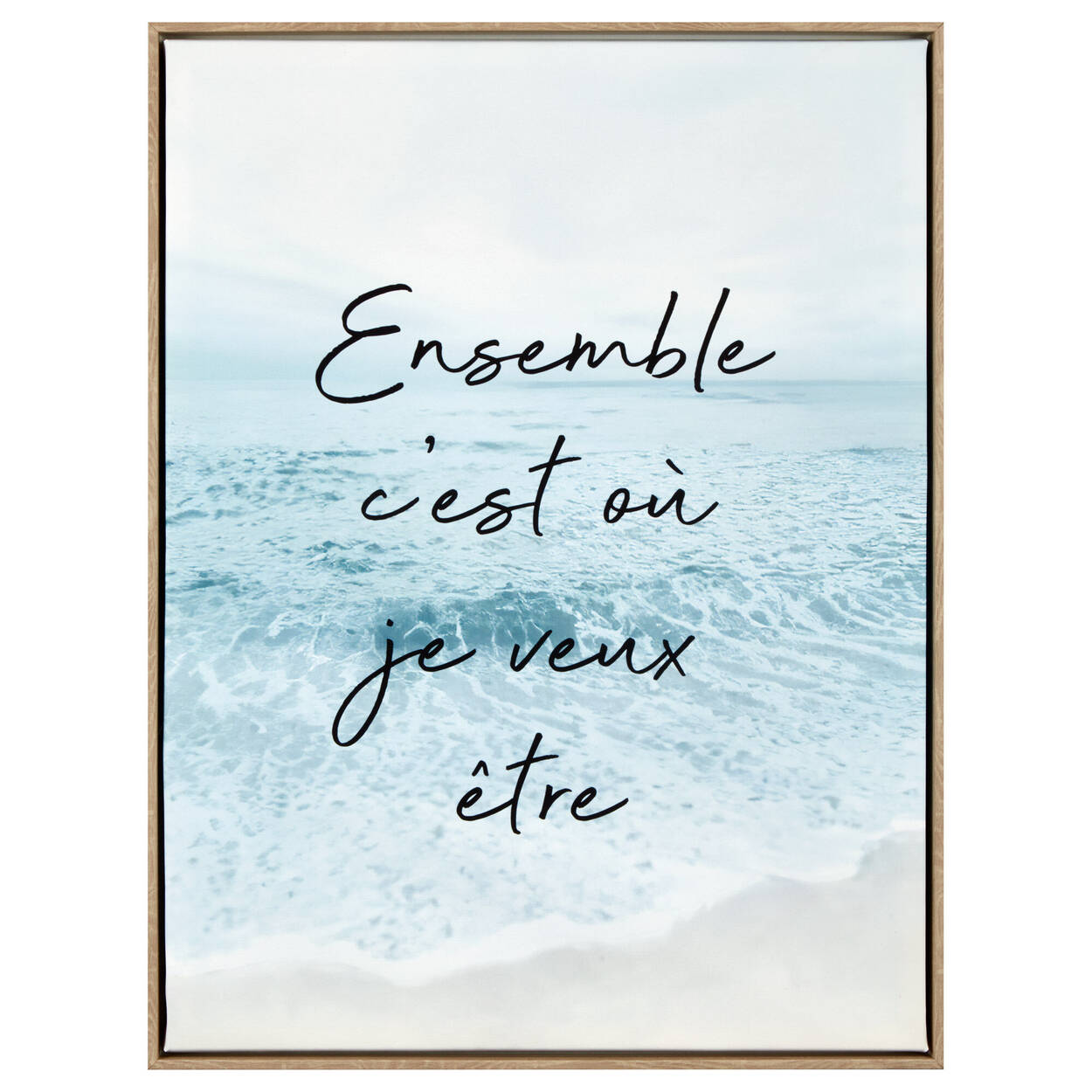 Beach and Inspiring French Typography Framed Art