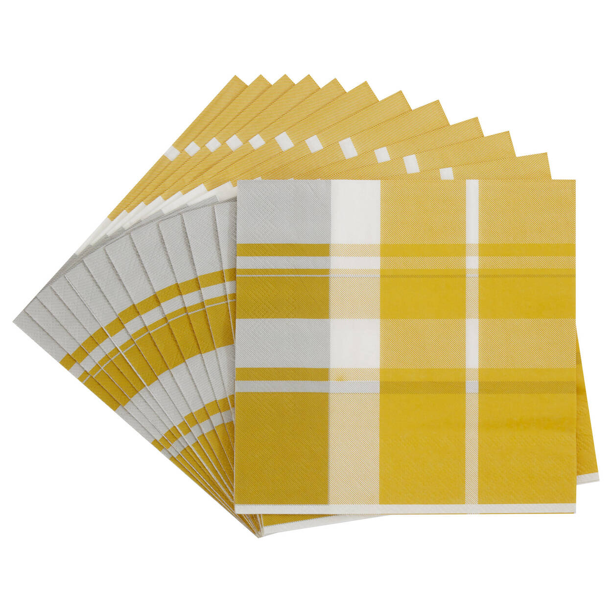 Pack of 20 Yellow Plaid Paper Napkins