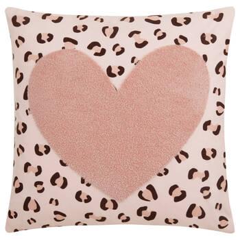 """Coussin décoratif coeur et imprimé léopard Koury 18"""" x 18"""""""