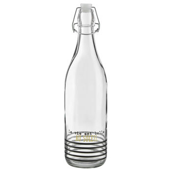 Striped Glass Bottle with Flip-Top Lid