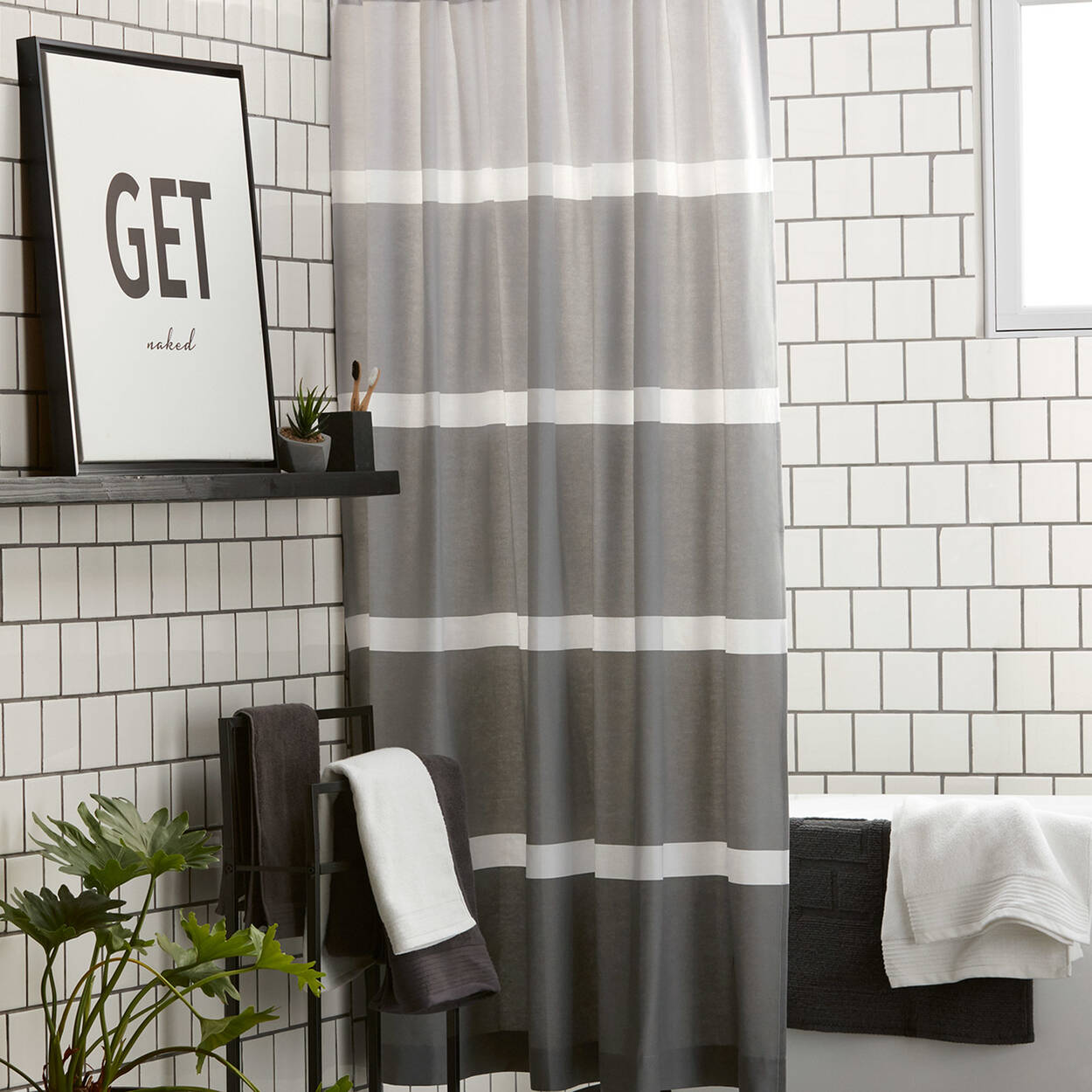 rideau de douche nuances de gris. Black Bedroom Furniture Sets. Home Design Ideas
