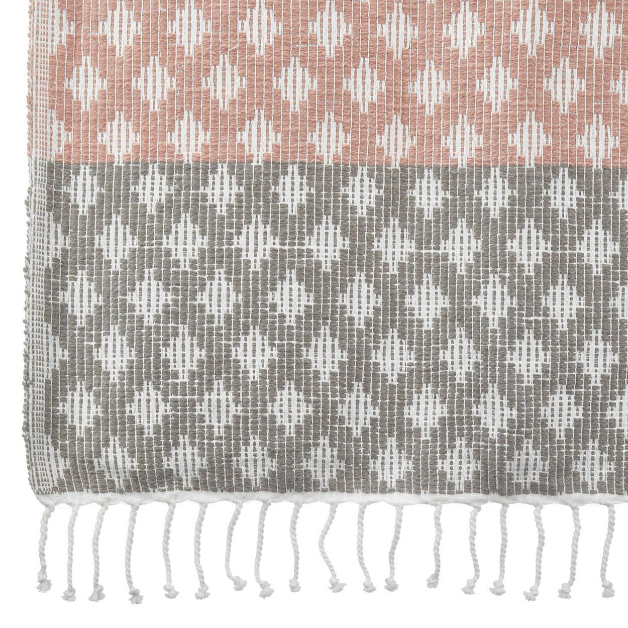 "Fringed Diamond Knit Throw 50"" x 60"""