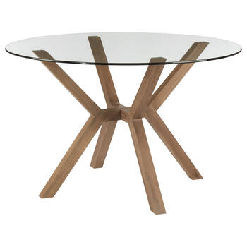Pine Wood and Tempered Glass Dining Table