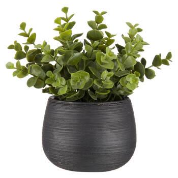 Plante artificielle en pot noir rayé