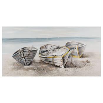 Tableau bateaux sur la plage peint à l'huile