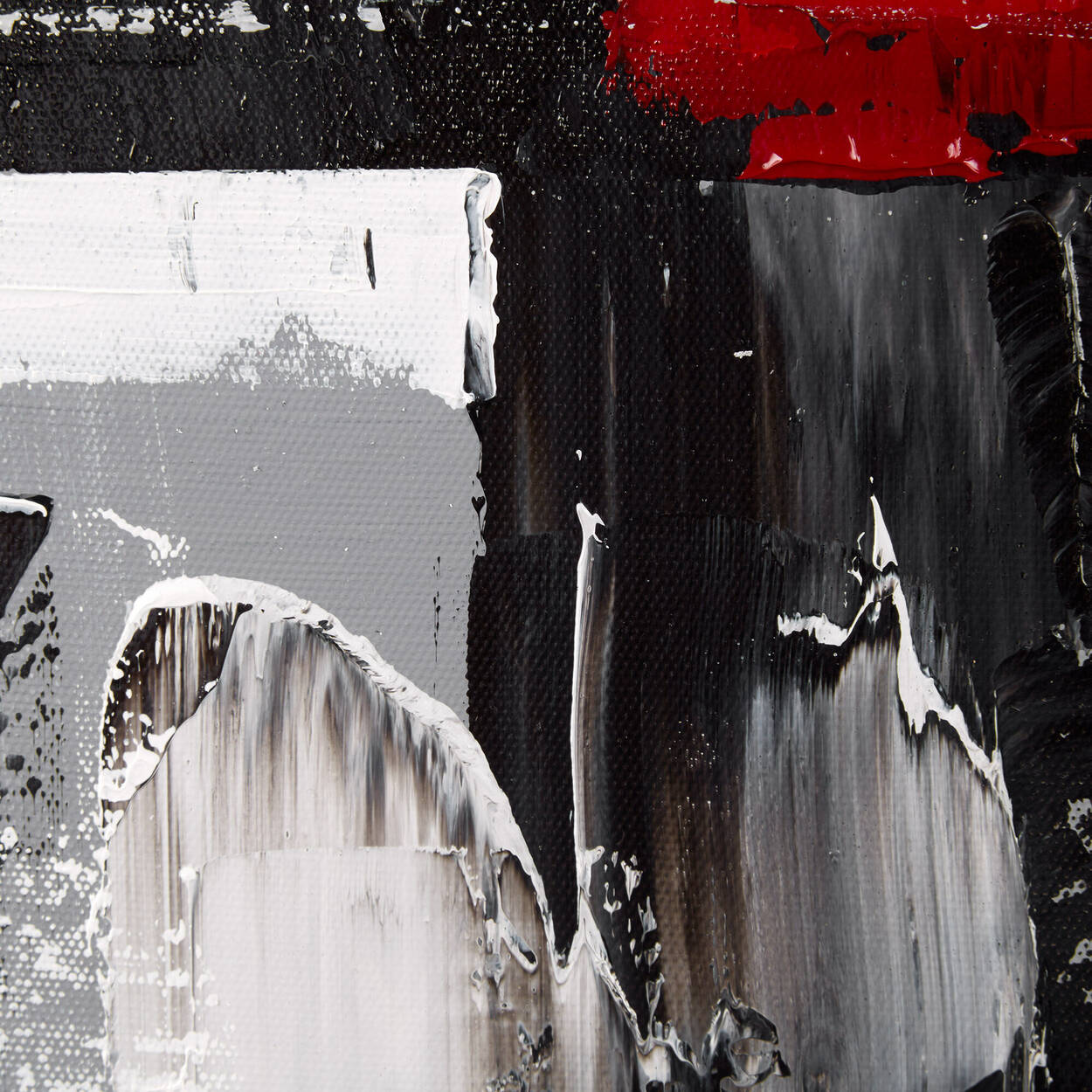 Tableau abstrait rouge peint à l'huile