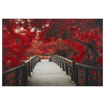 Red Tree Bridge Printed Canvas with Gel Embellishments