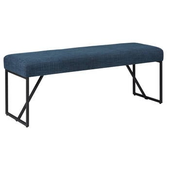 Fabric and Metal Bench