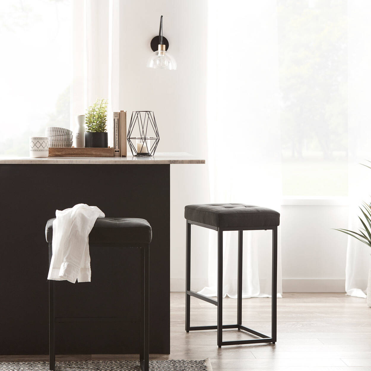 Faux Leather Bar Stool with Metal Legs