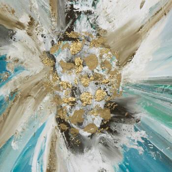 Teal Flower Gel-Embellished Printed Canvas