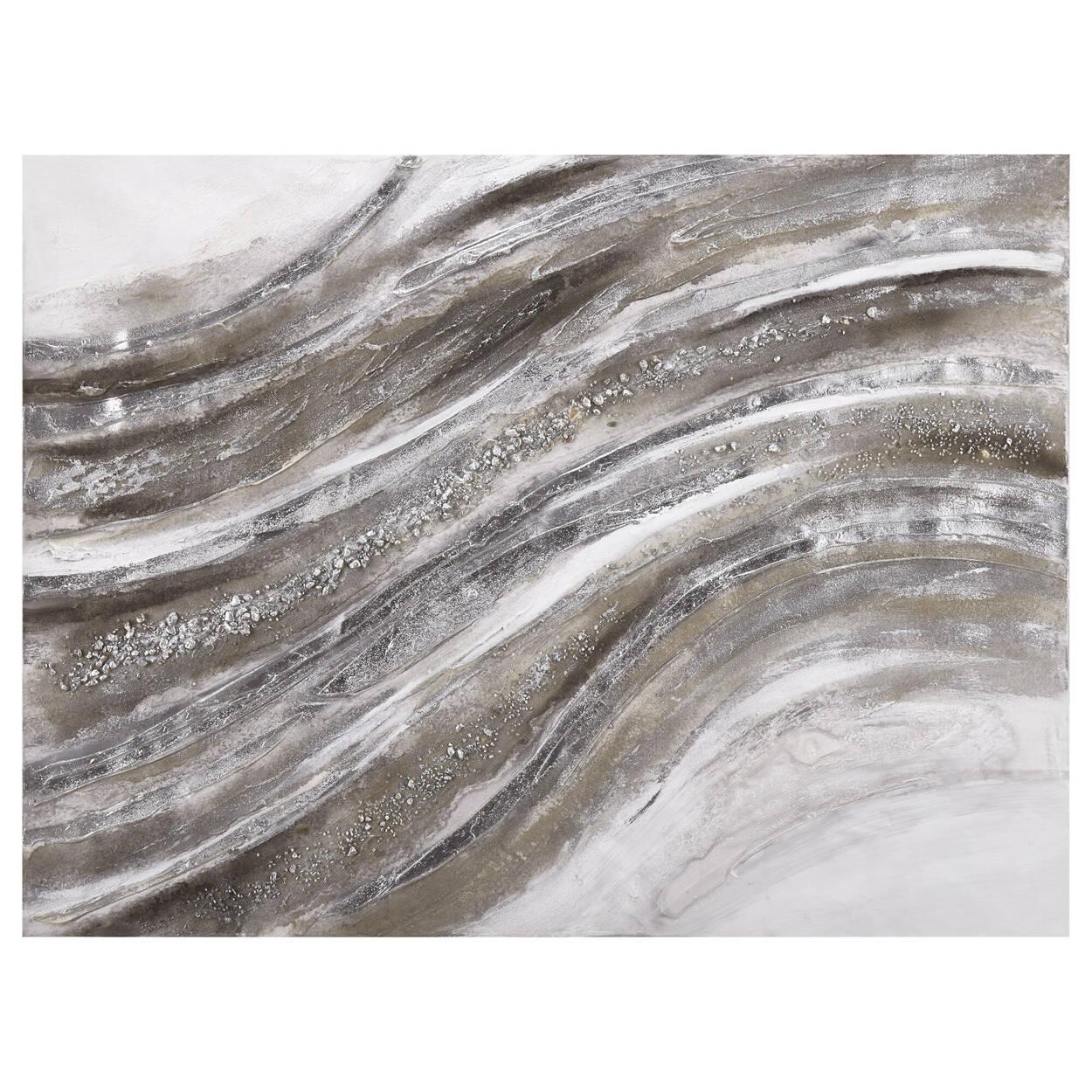 Tableau vague abstraite peint à l'huile