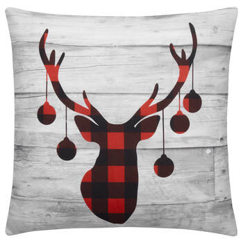 "Ornaments on Deer Decorative Pillow Cover 18"" X 18"""