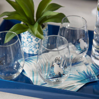 Pack of 20 Blue Palm Leaves Paper Napkins