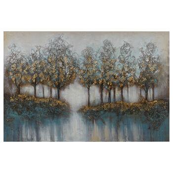 Tableau arbres peint à l'huile avec embellissements