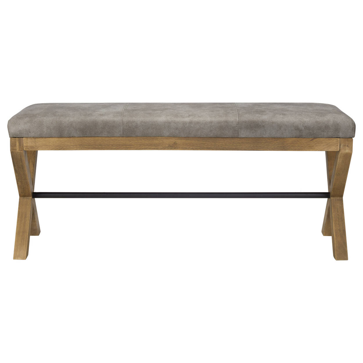 Textured Faux Leather and Wood Bench