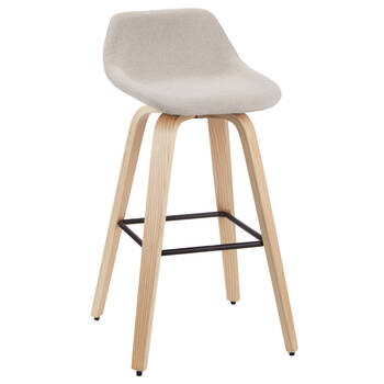 Fabric and Natural Wood Stool