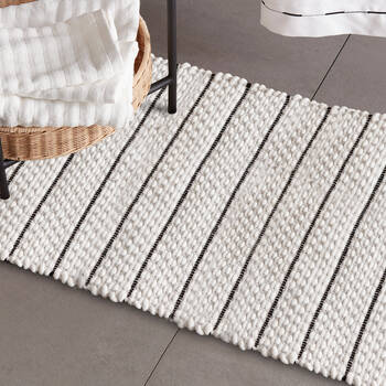 White Bathmat with Black Stripes