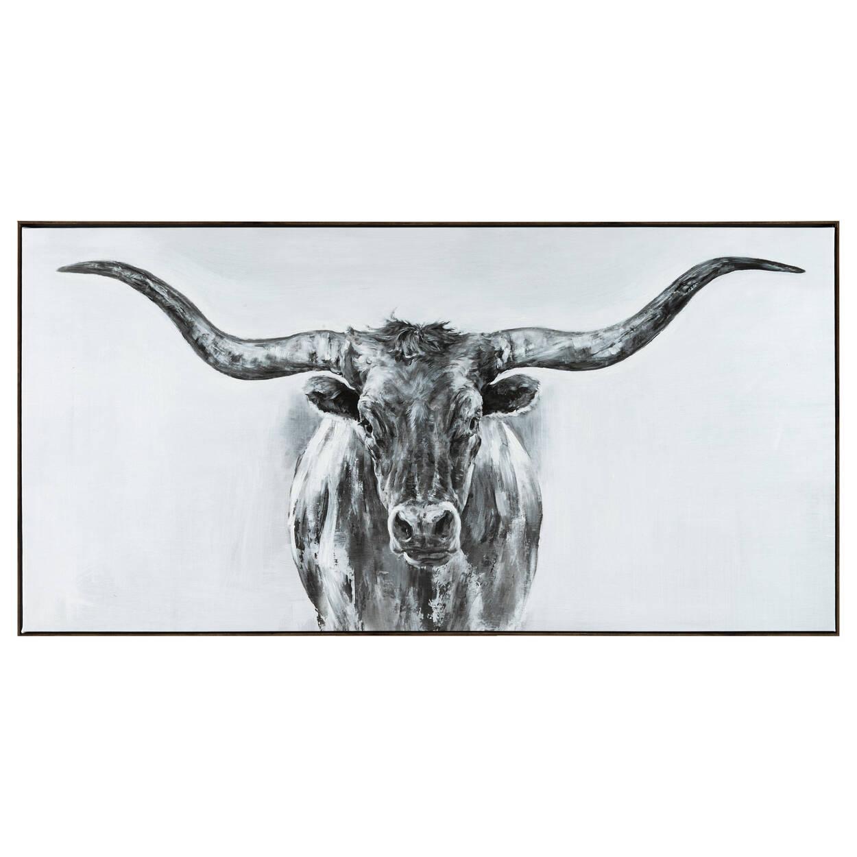 Bull Sketch Gel Embellished Framed Art   Bouclair.com