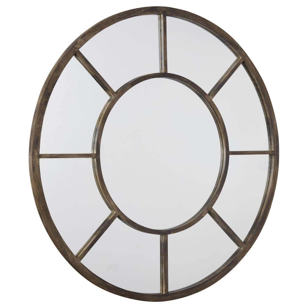 Miroir rond style fenêtre à carreaux