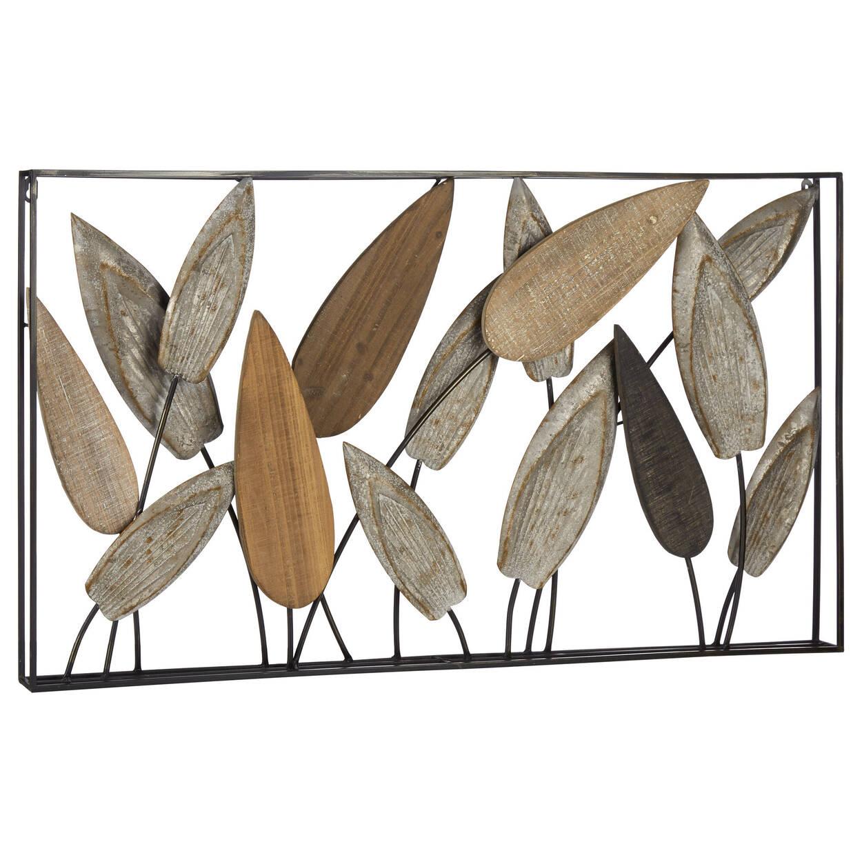 Leaf Wood & Metal Wall Art