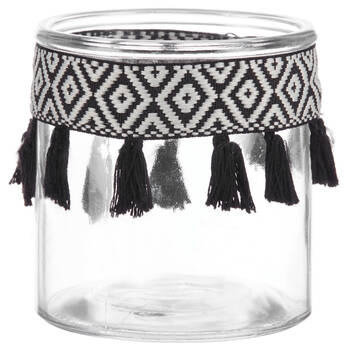 Glass Candle Holder with Tassels