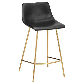 Faux Leather and Gold Metal Bar Stool