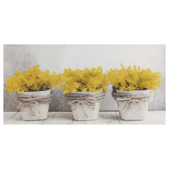 Yellow Floral Pots Printed Canvas