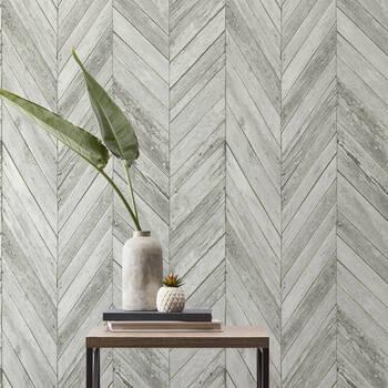 Light Grey Chevron Peel-&-Stick Wallpaper