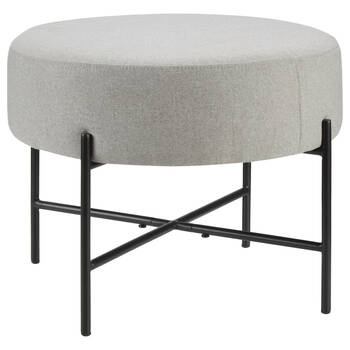 Grey Fabric and Metal Ottoman