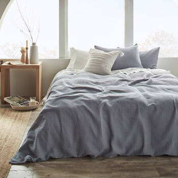 Collin Waffle Blue Duvet Cover