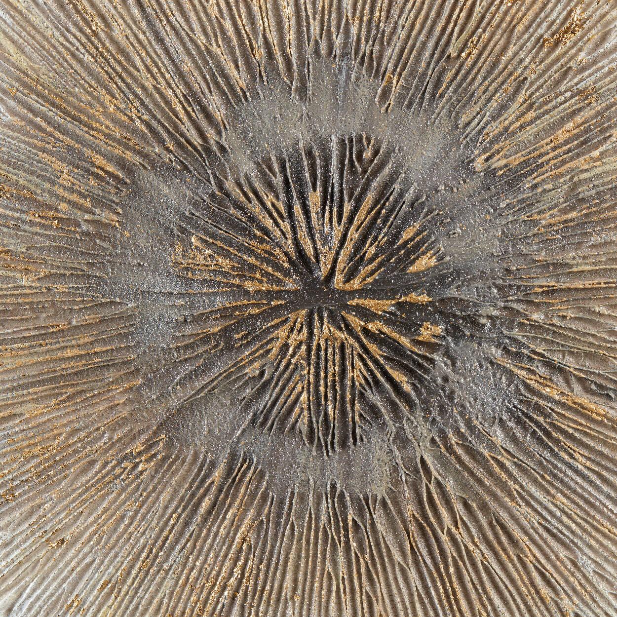 Tableau abstrait explosion dorée peint à l'huile