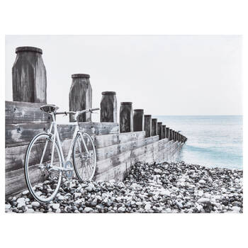 Bike on Pebbles Printed Canvas