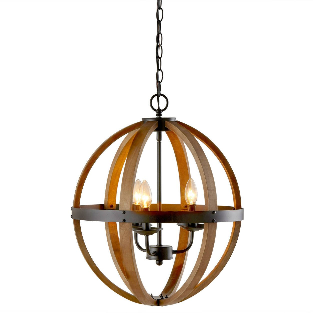 Wood Sphere Chandelier Ceiling Lamp